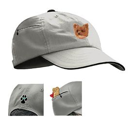 Chihuahua Khaki Baseball Cap with Embroidered and zippered pocket unique gift item for dog lovers
