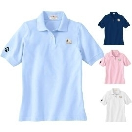 1pl Bichon Embroidered Ladies Cotton Golf Shirt
