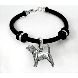 Beagle Simple Rubber Bracelet with Sterling Silver Charm unique gift item for dog lovers