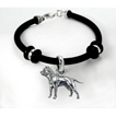 Pit Bull Simple Rubber Bracelet with Sterling Silver Charm unique gift item
