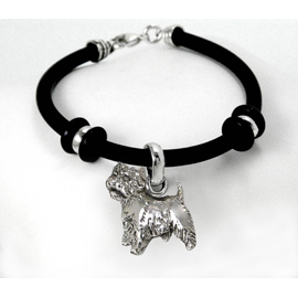 Westie Simple Rubber Bracelet with Sterling Silver Charm unique gift item for dog lovers