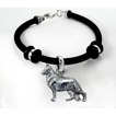 German Shepherd White Simple Rubber Bracelet with Sterling Silver Charm unique gift item