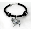 Papillon Simple Rubber Bracelet with Sterling Silver Charm unique gift item