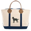 4AL-Heavy Canvas with Leather Handles Zippered Tote Bag embroidered with your breed.