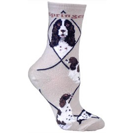 4AL-English Springer Spaniel Black Cotton Ladies Socks