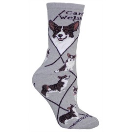 4AL-Corgi Cardigan Welsh Black & Tan Cotton Ladies Socks