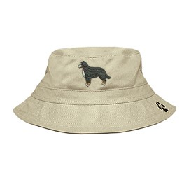 3C-Bernese Mountain Bucket Hat with side zipper with embroidered full profile.