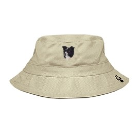 3C-Border Collie Bucket Hat with side zipper with embroidered face
