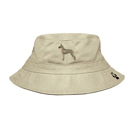 3C-Great Dane Bucket Hat with side zipper with embroidered full profile