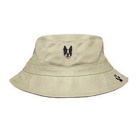 3C-Boston Terrier Bucket Hat with side zipper with embroidered face