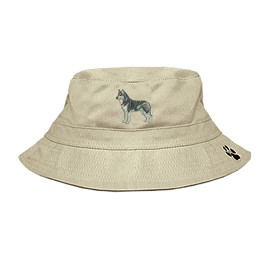 3C-Husky Bucket Hat with side zipper with embroidered full profile.