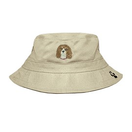 3C-Cavalier King Charles Spaniel Blenheim Bucket Hat with side zipper with embroidered face