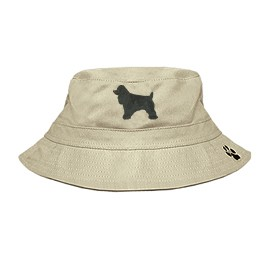 3C-Cocker Spaniel Black Bucket Hat with side zipper with embroidered full profile