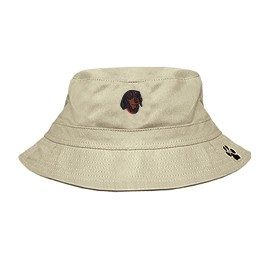 3C-Dachshund Black Bucket Hat with side zipper with embroidered face