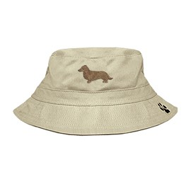 3C-Dachshund Long Haired Bucket Hat with side zipper with embroidered full profile