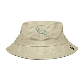 3C-German Shepherd White Bucket Hat with side zipper with embroidered full profile
