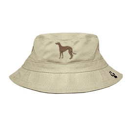 3C-Greyhound Brindle Bucket Hat with side zipper with embroidered full profile