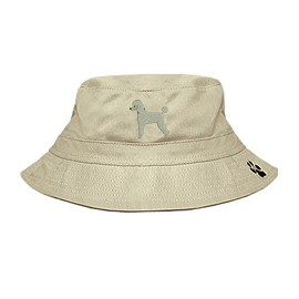 3C-Poodle White Bucket Hat with side zipper with embroidered full profile