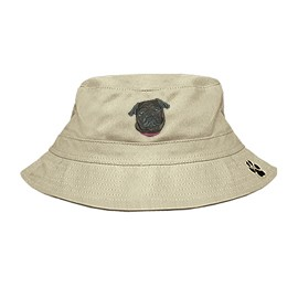 3C-Pug Black Bucket Hat with side zipper with embroidered face.