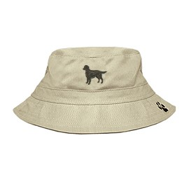 3C-Flat Coated Retriever Bucket Hat with side zipper with embroidered full profile