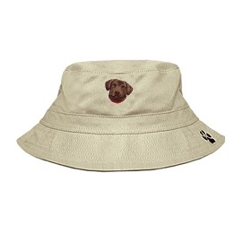 3C-Chesapeake Retriever Bucket Hat with side zipper with embroidered face