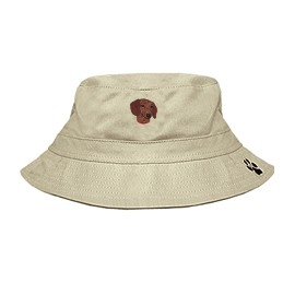 3C-Dachshund Brown Bucket Hat with side zipper with embroidered face