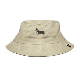 3C-Cardigan Welsh Corgi Bucket Hat with side zipper with embroidered full profile