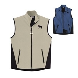 2FM-Pug Black Men's High Tec Vest, Bone Zipper Pull and Embroidered image