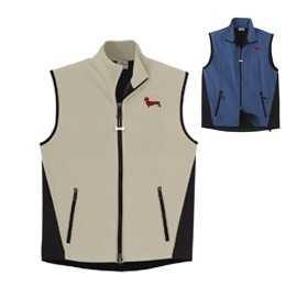 2FM-Dachshund Brown Men's High Tec Vest, Bone Zipper Pull and Embroidered image