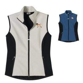 2FL-Pug Fawn Ladies' High Tec Vest, Bone Zipper Pull and Embroidered image