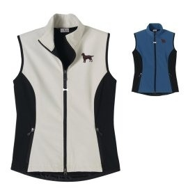 2FL-Flat Coated Retriever Ladies' High Tec Vest, Bone Zipper Pull and Embroidered image