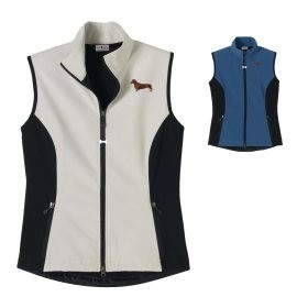 2FL-DachshundBrown #2 Ladies' High Tec Vest, Bone Zipper Pull and Embroidered image