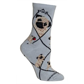 4AL-Pug Fawn Cotton Ladies Socks