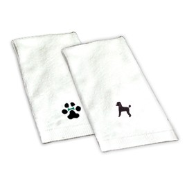 8H-Poodle Black Hand Towel