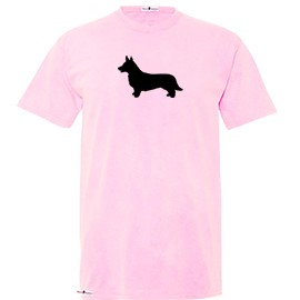 1TY-Cardigan Welsh Corgi Youth Pigmented Dyed T-shirt with Silhouette