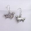 7JL-Dachshund Long Haired Sterling Silver Earrings