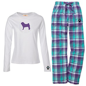 1WL-Pug Fawn Youth and Ladies Flannel and Cotton Kick Back Wear.