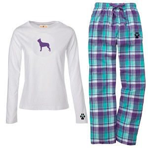 1WL-Boston Terrier Youth and Ladies Flannel and Cotton Kick Back Wear.