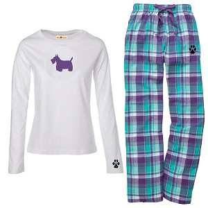 1WL-Scottish Terrier Youth and Ladies Flannel and Cotton Kick Back Wear.