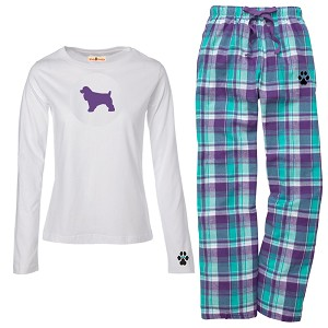1WL-Cocker Spaniel Black Youth and Ladies Flannel and Cotton Kick Back Wear.