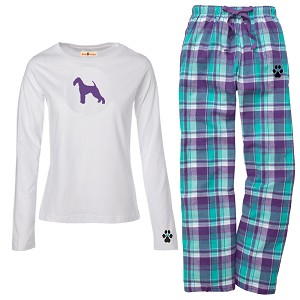 1WL-Airedale Terrier Youth and Ladies Flannel and Cotton Kick Back Wear.