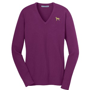 1SL-Ladies V-Neck Sweater embroidered with Your Breed