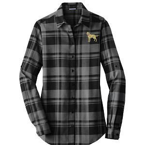 1SN-Ladies Plaid Flannel Tunic embroidered with Your Breed
