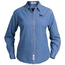 1SL-Vizsla Ladies Denim Shirt Embroidered with Your Breed.