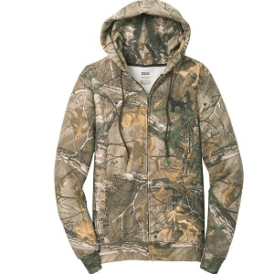 1SN-Clumber Spaniel Men's Realtree® Full-Zip Hooded Sweatshirt embroidered with Your Breed