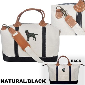 4AL-Heavy Canvas Overnight Bag with Leather Handles Zippered Tote Bag embroidered with your breed.