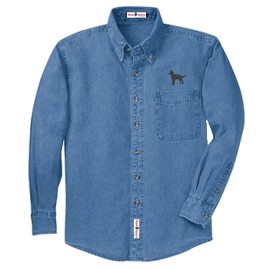 1SM-Men's Denim Shirt Embroidered with profile.