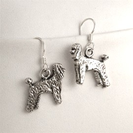 7JL-Poodle White Sterling Silver Earrings