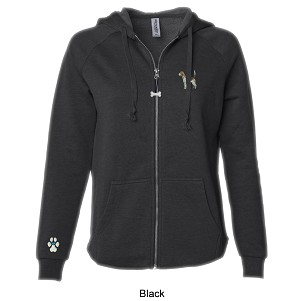 2CL-Ladies California Wave Wash Full-Zip Hooded Sweatshirt with Embroidered Dog Breed.