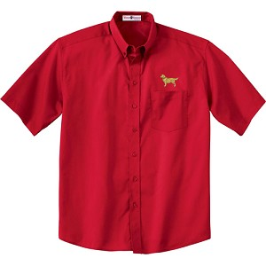 1CM-Golden Retriever Men's  Short Sleeve Twill Shirt with Embroidered profile.